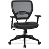 "Office Star Dark Air Grid Back Managers Chair - Leather Seat - 5-star Base - Black - 20"" Seat Width x 19.50"" Seat Depth - 26.5"" Width x 25.3"" Depth x 42"" Height"