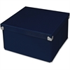 "Samsill Pop n' Store Medium Square Box - Navy Blue - 10.63""x6""x10.63"" - External Dimensions: 10.6"" Length x 10.6"" Width x 5.9"" Height - Heavy Duty - Stackable - Paper, Chipboard, Metal, Fabric, Fiberb"