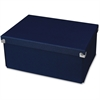 "Samsill Pop n' Store Medium Document Box - Navy Blue - 12.75""x6""x9.5"" - External Dimensions: 12.8"" Length x 9.5"" Width x 5.9"" Height - Heavy Duty - Stackable - Paper, Chipboard, Metal, Fabric, Fiberbo"
