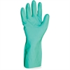 Flock Lined Nitrile Gloves - Large Size - Nitrile - Green - Abrasion Resistant, Puncture Resistant, Chemical Resistant, Non-slip Grip, Flock-lined, Durable, Mediumweight - For Chemical, Maint