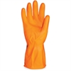 ProGuard Deluxe Flock Lined Latex Gloves - Medium Size - Latex - Orange - Embossed Grip, Extra Heavyweight, Durable, Acid Resistant, Alcohol Resistant, Alkali Resistant, Abrasion Resistant, Tear Resis
