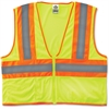 GloWear Class 2 Two-tone Lime Vest - Small/Medium Size - Polyester Mesh - Lime - 1 / Each