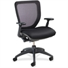 "Lorell Mesh-back Task Chair with Synchro Knee Tilt - Fabric Black Seat - Black Back - 5-star Base - 27"" Width x 27"" Depth x 28"" Height"