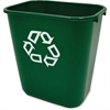 "Rubbermaid Commercial Recycling Symbol Container - 7.03 gal Capacity - Rectangular - 15"" Height x 10.2"" Width - Plastic - Green"