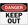 Safety Sign Inserts-Danger Keep Out - 6 / Pack - Danger Keep Out Print/Message - Black, White Print/Message Color - Easy Installation, Tear Resistant, Water Proof, Sturdy, Long Lasting, Durab