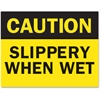 "Safety Sign Inserts-""Caution ... Wet"" - 6 / Pack - Caution ... Wet Print/Message - Yellow, Black Print/Message Color - Tear Resistant, Water Proof, Sturdy, Long Lasting, Durable, Easy Install"