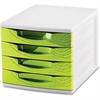 "CEP Desktop Module - 2000 x Sheet - 4 Drawer(s) - 10.4"" Height x 11.8"" Width x 14.5"" Depth - Desktop - White, Green - Polystyrene, Rubber - 1Each"