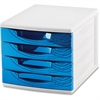 "CEP Desktop Module - 2000 x Sheet - 4 Drawer(s) - 10.4"" Height x 11.8"" Width x 14.5"" Depth - Desktop - White, Blue - Polystyrene, Rubber - 1Each"