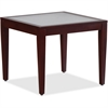 "Lorell Glass Top Mahogany Frame Table - Square Top - Four Leg Base - 4 Legs - 23.60"" Table Top Length x 23.60"" Table Top Width x 0.20"" Table Top Thickness - 20"" Height x 23.63"" Width x 23.63"" Depth -"