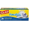 "Glad ForceFlex 8-gal Quick-Tie Trash Bags - 8 gal - 19.92"" Width x 19.92"" Length x 0.70 mil (18 Micron) Thickness - White - 26/Box - Office, School, Day Care, Garbage"