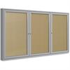 "Ghent 3-Door Outdoor Enclosed Vinyl Bulletin Board - 48"" Height x 72"" Width - Vinyl Surface - Satin Aluminum Frame - 1 Each"