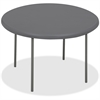 "Iceberg IndestrucTable TOO Folding Table - Round Top - Four Leg Base - 4 Legs - 2"" Table Top Thickness x 78"" Table Top Diameter - Charcoal, Powder Coated - High-density Polyethylene (HDPE), Steel"