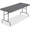 "Iceberg IndestrucTable TOO Bifold Table - Rectangle Top - 72"" Table Top Length x 30"" Table Top Width x 2"" Table Top Thickness - 29"" Height - Charcoal, Powder Coated - Tubular Steel"