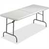 "Iceberg IndestrucTable TOO Bifold Table - Rectangle Top - 96"" Table Top Length x 30"" Table Top Width x 2"" Table Top Thickness - 29"" Height - Platinum, Powder Coated - Tubular Steel"