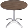 "Iceberg iLand Round Hospitality Table - Round Top - 1.13"" Table Top Thickness x 36"" Table Top Diameter - 29"" Height - Assembly Required - Laminated, Teak - Particleboard"