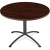 "iLand Round Hospitality Table - Round Top - 1.13"" Table Top Thickness x 42"" Table Top Diameter - 29"" Height - Assembly Required - Laminated, Mahogany - Particleboard"