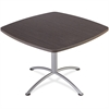"iLand 29""H Square Hospitality Table - Square Top - 42"" Table Top Length x 42"" Table Top Width x 1.13"" Table Top Thickness - 29"" Height - Assembly Required - Gray, Laminated, Silver - Particleb"