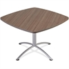 "iLand 29""H Square Hospitality Table - Square Top - 42"" Table Top Length x 42"" Table Top Width x 1.13"" Table Top Thickness - 29"" Height - Assembly Required - Laminated, Teak - Particleboard"