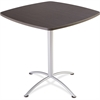 "Iceberg iLand 42""H Square Bistro Table - Square Top - 42"" Table Top Length x 42"" Table Top Width x 1.13"" Table Top Thickness - 42"" Height - Assembly Required - Gray, Laminated, Silver - Particleboard"