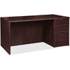 "Lorell Prominence 79000 Espresso Right Desk Pedestal - 71"" x 36"" x 29"" - 3 x File Drawer(s), Box Drawer(s) - Single Pedestal on Right Side - Material: Particleboard - Finish: Espresso, Thermofused Mel"