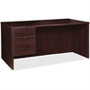 "Lorell Prominence 79000 Espresso Desk with Left Pedestal - 66"" x 30"" x 29"" - 2 x Box Drawer(s), File Drawer(s) - Single Pedestal on Left Side - Material: Particleboard - Finish: Espresso, High Pressur"