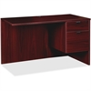 "Lorell Prominence Series Mahogany Right Pedestal Return - 42"" x 24"" x 29"" - 2 x File Drawer(s), Box Drawer(s) - Single Pedestal on Right Side - Material: Particleboard - Finish: Mahogany, Thermofused"