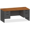 "Lorell Cherry/Charcoal Pedestal Desk - 66"" x 30"" x 29.5"" - 2 x Box Drawer(s), File Drawer(s) - Double Pedestal - Material: Steel - Finish: Cherry, Charcoal"