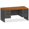 "Lorell Cherry/Charcoal Pedestal Desk - 60"" x 24"" x 29.5"" - 2 x Box Drawer(s), File Drawer(s) - Double Pedestal - Material: Steel - Finish: Cherry, Charcoal"