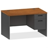 "Lorell Cherry/Charcoal Pedestal Desk - 48"" x 30"" x 29.5"" - 2 x Box Drawer(s), File Drawer(s) - Single Pedestal on Right Side - Material: Steel - Finish: Cherry, Charcoal"