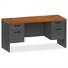 "Lorell Cherry/Charcoal Pedestal Credenza - 60"" x 24"" x 29.5"" - 2 x Box Drawer(s), File Drawer(s) - Double Pedestal - Material: Steel - Finish: Cherry, Charcoal"