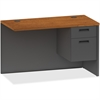 "Lorell Cherry/Charcoal Return - 48"" x 24"" x 29.5"" - 2 x Box Drawer(s), File Drawer(s) - Single Pedestal on Right Side - Material: Steel - Finish: Cherry, Charcoal"