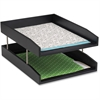 "Safco Wood Double Letter Tray - 6.3"" Height x 13.8"" Width x 10.5"" Depth - Desktop - Black - Pine Wood - 1Each"
