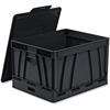 Storex Collapsible Storage Crate - 45 lb - 9.25 gal - Media Size Supported: Letter, Legal - Lid Lock Closure - Heavy Duty - Stackable - Plastic - Black - For File Folder, Letter, Document, File, Box F