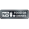 "U.S. Stamp & Sign No Food Or Drinks Window Sign - 1 Each - NO FOOD OR DRINKS Print/Message - 2.5"" Width x 8.5"" Height - Rectangular Shape - Self-adhesive - White, Clear"