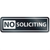 """U.S. Stamp & Sign No Soliciting Window Sign - 1 Each - No Soliciting Print/Message - 8.5"""" Width x 2.5"""" Height - Rectangular Shape - Self-adhesive, Removable - White, Clear"""