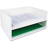 "Victor Pure White Collection Wood Stacking Letter Tray - 3.3"" Height x 13"" Width x 10.6"" Depth - White - Wood, Rubber, Faux Leather - 1Each"