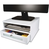 "Victor Monitor Riser - 6.5"" Height x 13"" Width x 13"" Depth - Desktop - Wood, Faux Leather, Frosted Glass - White"