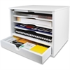 "Victor Pure White Collection Wood Desktop Organizer - 1 Drawer(s) - 3 Divider(s) - 3 Tier(s) - 10.9"" Height x 12.8"" Width x 10.6"" Depth - White - Wood, Rubber - 1Each"