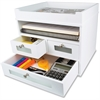 "Victor Pure White Collection Wood Tidy Tower Organizer - 3 Drawer(s) - 10.8"" Height x 12.3"" Width x 10.8"" Depth - White - Wood, Rubber, Faux Leather, Metal, Frosted Glass - 1Each"