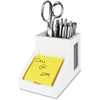 "Victor Pure White Collection Wood Pencil Cup with Note Holder - 4.5"" x 4"" x 6.3"" - Wood, Rubber, Frosted Glass - 1 Each - White"