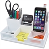 "Victor Pure White Collection Wood Desk Organizer with Smart Phone Holder - 6 Compartment(s) - 3.5"" Height x 5.5"" Width x 10.4"" Depth - White - Wood, Frosted Glass, Rubber - 1Each"
