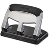 "Bostitch EZ Squeeze 40-sheet Hole Punch - 3 Punch Head(s) - 40 Sheet Capacity - 9/32"" Punch Size - 7.4"" x 3.1"" - Black, Silver"