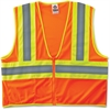 GloWear 8229Z Class 2 Economy Two-Tone Vest - Recommended for: Construction - Large/Extra Large Size - Zipper Closure - Polyester Mesh, Fabric - Orange, Lime, Silver - 1 Each