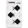 Lorell Square Glass Cap Rare Earth Magnets - Square - 6 / Pack - Black, White