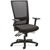 "Lorell Asynch Control High-back Mesh Chair - Fabric Seat - 5-star Base - Black - 20.16"" Seat Width - 48"" Width x 28.3"" Depth x 26.2"" Height"