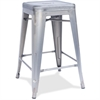 "Lorell Silver Metal Stool - Wood Silver Seat - Powder Coated Frame - Metal - 16"" Width x 16"" Depth x 24"" Height"