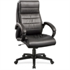 "Lorell Deluxe High-back Leather Chair - Leather Seat - Leather Back - 5-star Base - Black - 27.8"" Width x 32"" Depth x 44.5"" Height"