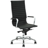 "Lorell Modern Chair Series High-back Leather Chair - Leather Seat - Leather Back - 5-star Base - Black - 20"" Seat Width x 18.75"" Seat Depth - 25"" Width x 26.8"" Depth x 45"" Height"
