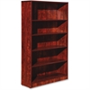 "Lorell Essentials Series Cherry Laminate Bookcase - 36"" x 12"" x 60"" Bookshelf, Shelf - 5 Shelve(s) - Square Edge - Material: Medium Density Fiberboard (MDF) - Finish: Cherry, Laminate"