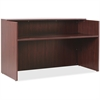 "Lorell Essentials Series Mahogany Reception Desk - Top, 35.4"" x 70.9"" x 42.5"" Desk - Material: Wood - Finish: Mahogany Laminate"